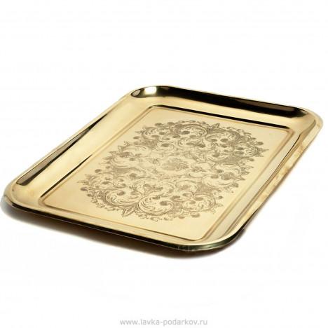 Поднос «Прямоугольный» с фигурным вырезом и узором, золотой