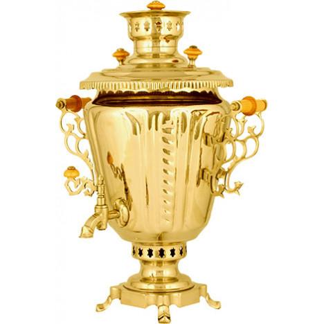 Самовар жаровой, латунь (под золото), 5 л