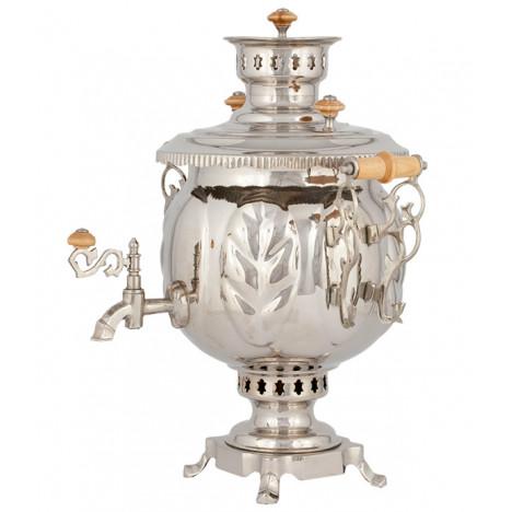 Самовар комбинированный никелированный (под серебро), 4,5 л