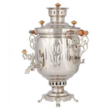 Самовар жаровой, никелированный  (под серебро), 5 л