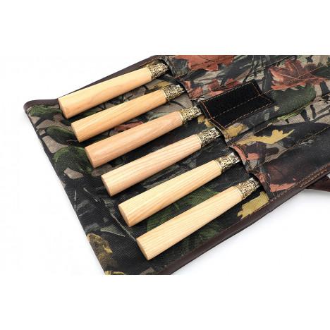 Набор шампуров с деревянной ручкой (Дуб) из нержавеющей стали