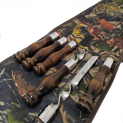 Набор шампуров с деревянной ручкой из нержавеющей стали