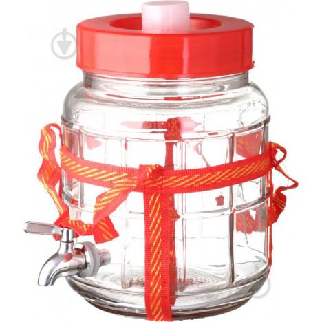 Банка стеклянная с гидрозатвором и краном, 9 литров